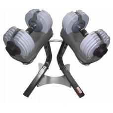 Набор гантелей 2 х 32,5 кг переменного веса на подставке